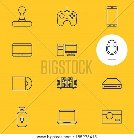 Vector Illustration Of 12 Gadget Icons. Editable Pack Of Joypad, Sound Recording, Usb Card And Other Elements.