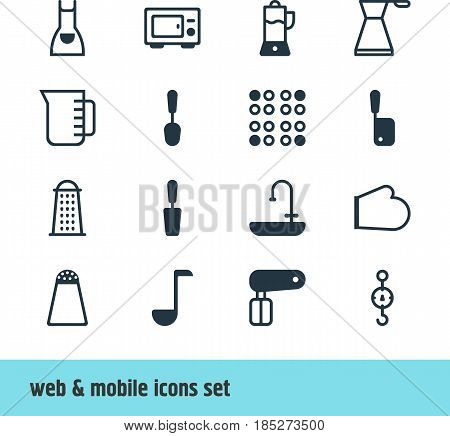 Vector Illustration Of 16 Restaurant Icons. Editable Pack Of Tablespoon, Whisk, Washstand Elements.