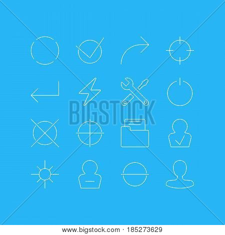 Vector Illustration Of 16 User Interface Icons. Editable Pack Of Dossier, Yes, Share And Other Elements.