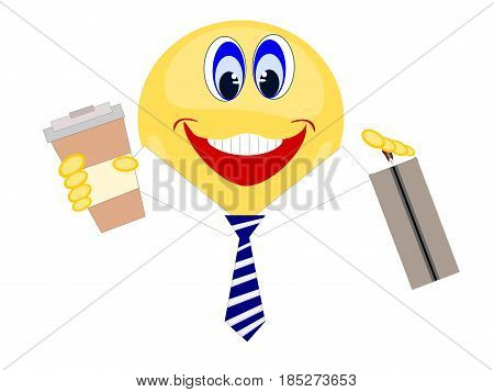 Emoji isolated yellow business man with collar and tie smiling holding coffee and brief case