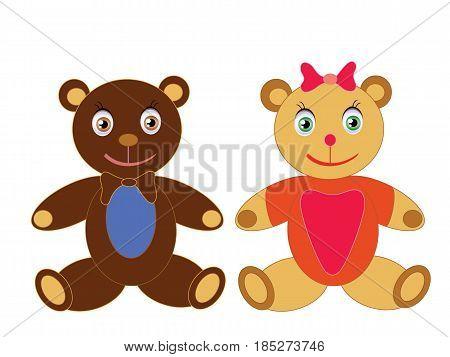 Cartoon teddy bear objects isolated in vector format