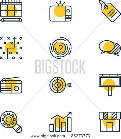 Vector Illustration Of 12 Ad Icons. Editable Pack Of Goal, Discount Label, Fm Broadcasting And Other Elements.