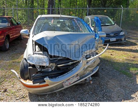 EVANS GA - APRIL 4: damaged car in impound lot after an head on collision 2017