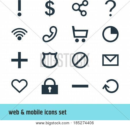 Vector Illustration Of 16 Interface Icons. Editable Pack Of Cordless Connection, Publish, Wheelbarrow And Other Elements.
