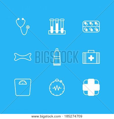 Vector Illustration Of 9 Health Icons. Editable Pack Of Medical Bag, Tube, Pulse And Other Elements.