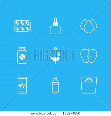Vector Illustration Of 9 Medical Icons. Editable Pack Of Weighing, Trickle, Plastic Bottle And Other Elements.