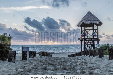 A beach in the Carribean at sunrise
