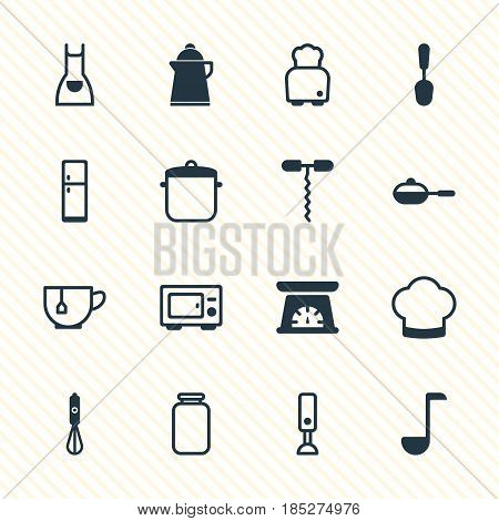 Vector Illustration Of 16 Cooking Icons. Editable Pack Of Smock, Mug, Chef Hat And Other Elements.