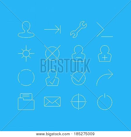 Vector Illustration Of 16 Interface Icons. Editable Pack Of Startup, Sunshine, Man Member And Other Elements.
