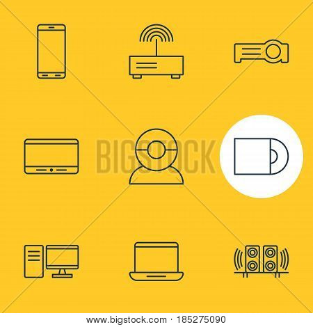 Vector Illustration Of 9 Device Icons. Editable Pack Of Monitor, Dvd Drive, Floodlight And Other Elements.