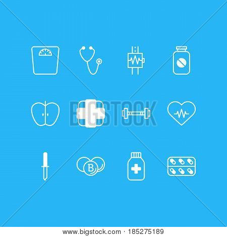 Vector Illustration Of 12 Health Icons. Editable Pack Of Pipette, Pulse, Aspirin And Other Elements.