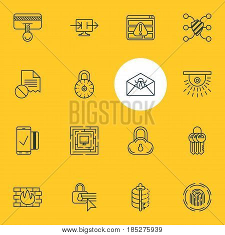 Vector Illustration Of 16 Internet Security Icons. Editable Pack Of Network Protection, Easy Payment, Key Collection And Other Elements.