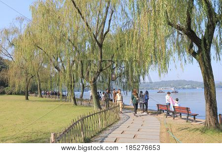 HANGZHOU CHINA - NOVEMBER 5, 2016: Unidentified people visit  Viewing fish at flower pool park.