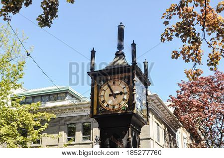 May 10 2017-Steam Clock in Gastown at downtown Vancouver, BC Canada