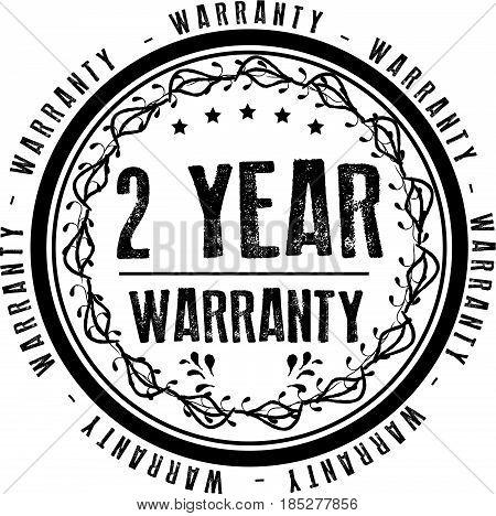 2 year warranty icon vintage rubber stamp guarantee
