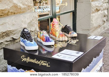 May 7 2017-Summer Shoes Display in front store Gastown at downtown Vancouver,BC Canada