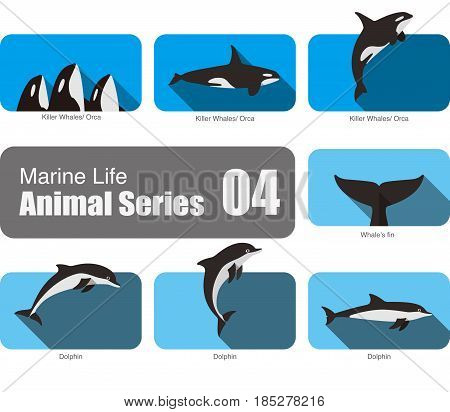 Flat Marine Life Cartoon Collection, Vector Illustration.