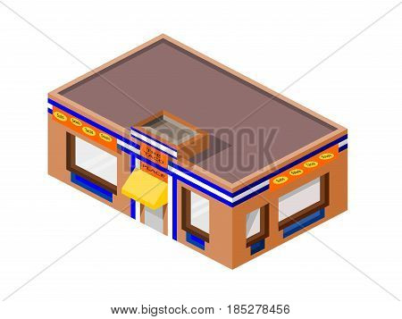 Isometric Fast Food Taco Business isolated building with signage