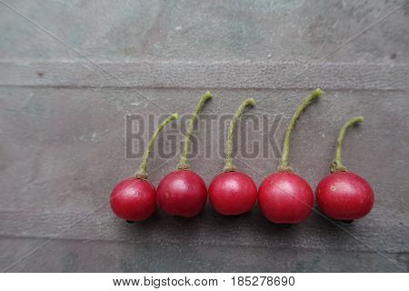 Red calaburs friut on table in Vietnam