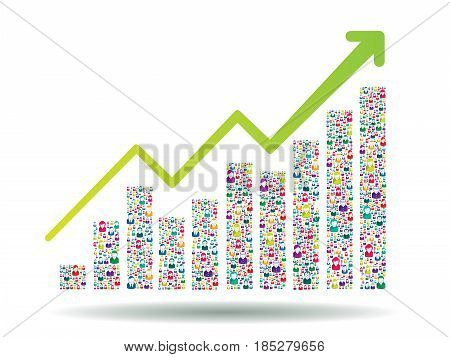 Growth chart and progress leading to success. Growth graph with people icons.