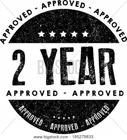 2 year warranty icon vintage rubber stamp guarantee