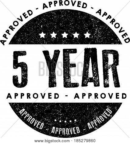 5 year warranty icon vintage rubber stamp guarantee