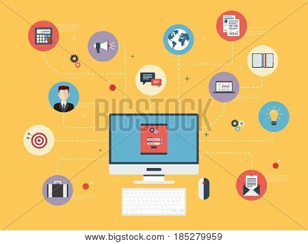Computer with login and password screen. Icons of business marketing and social media. Concept of Security and data protection organization business marketing and project management.
