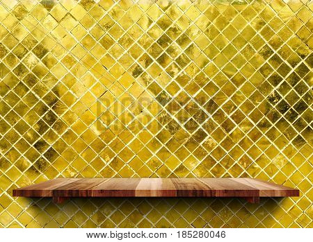 Empty Wooden Shelfs On Glossy Mosaic Gold Tile Wall, Mock Up Template For Display Of Product