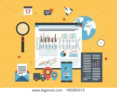 Business data and charts in the internet shop in flat design vector illustration. Concepts for business planning project management consulting programming and market research.