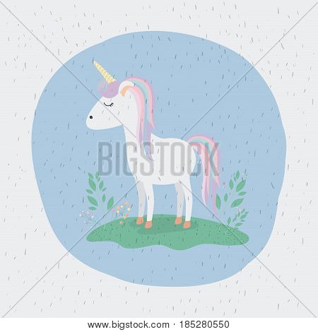 colorful background with unicorn standing with rainbow colors in mane and tail vector illustration