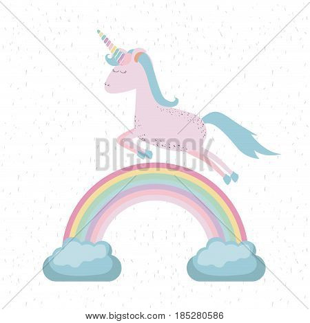 colorful background with unicorn jumping over the rainbow vector illustration