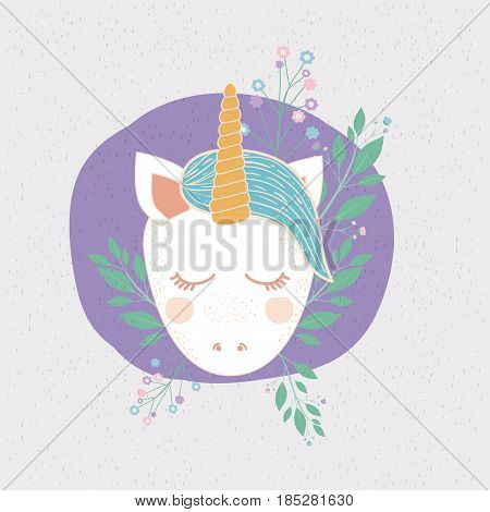 colorful frame with front face of caricature unicorn in circle with floral decoration vector illustration