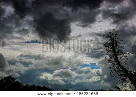 Thundercloud With Possible Formation Of A Tornado With A Slight