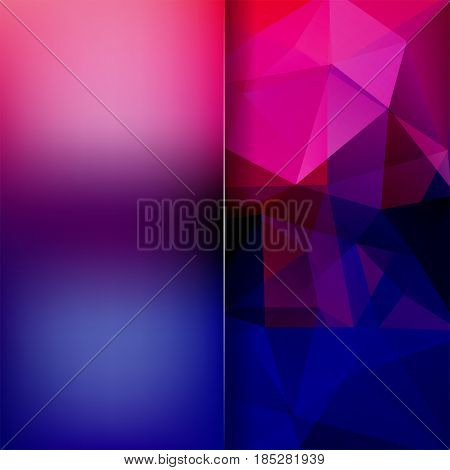 Background Of Pink, Purple, Blue Geometric Shapes. Blur Background With Glass. Mosaic Pattern. Vecto