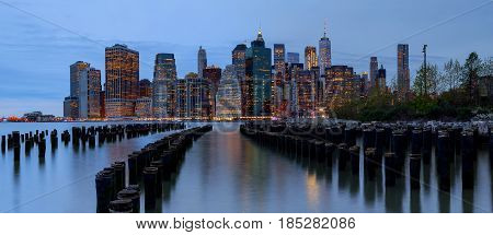 New York City Manhattan Buildings Skyline Evening Taken