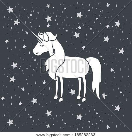 monochrome caricature of female unicorn in starry heaven vector illustration