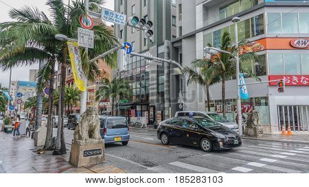 OKINAWA JAPAN - April 22 2017: Sculpture of Shisa mythical lion dog at Kokusai dori the main street in Naha City Okinawa