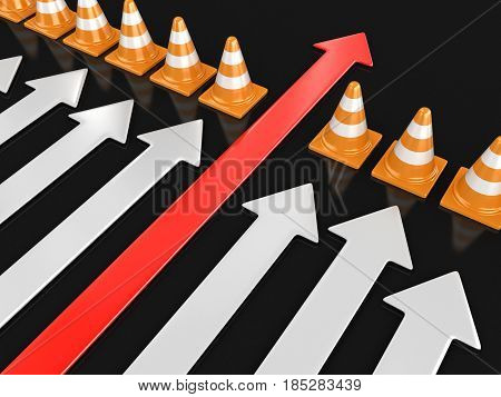 3D Ilustration. Arrow and traffic cones. Image with clipping path