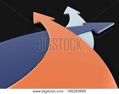 3D Ilustration. 3d image of arrows in three directions. Image with clipping path