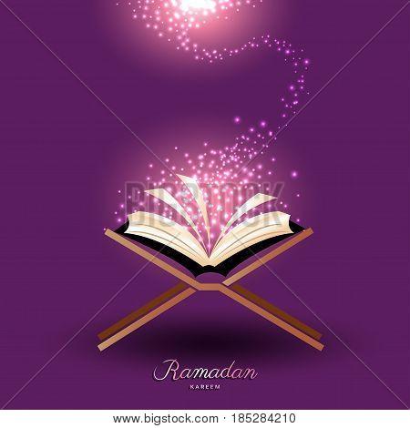 Muslim Quran with abstract magic light for ramadan of Islam