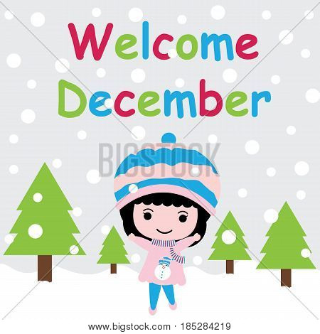 Cute girl is happy on snow fall background vector cartoon, Xmas postcard, wallpaper, and greeting card, T-shirt design for kids