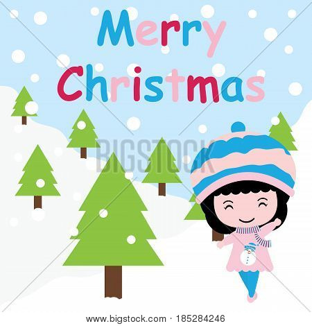 Cute girl says hi on Xmas tree background vector cartoon, Xmas postcard, wallpaper, and greeting card, T-shirt design for kids