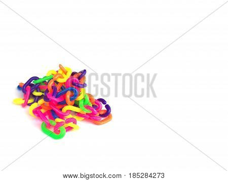 colorful plastic chain isolate on white background