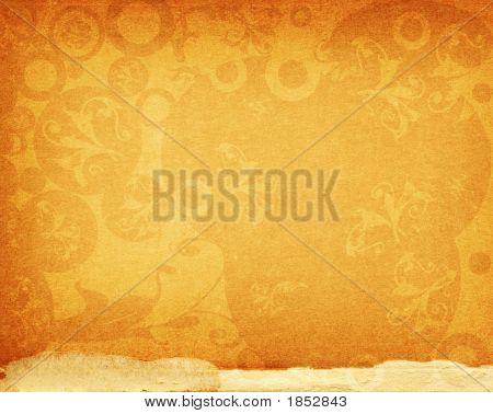 Floral Design On Old Paper