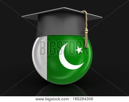 3D Ilustration. Graduation cap and Pakistani flag. Image with clipping path