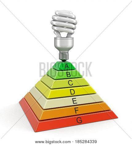 3D Ilustration. Pyramid Chart and Energy Saving Light Bulb. Image with clipping path