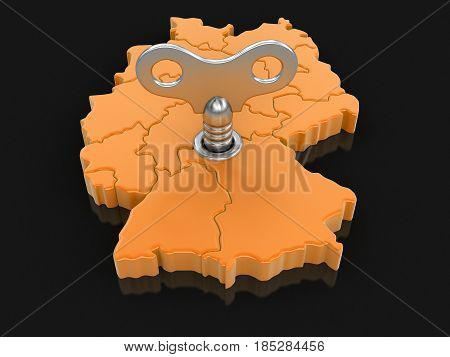 3D Ilustration. Map of Germany with winding key. Image with clipping path.