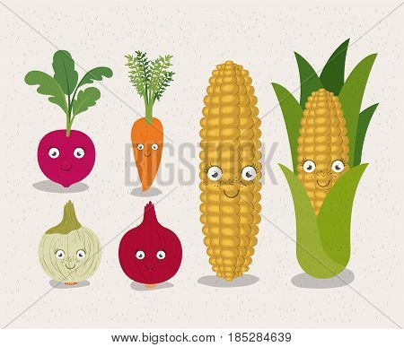 white background with colorful set of animated vegetables beet onion carrot and corn vector illustration