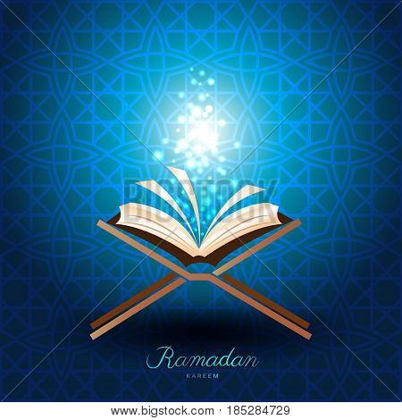 Muslim Quran with magic light on blue background for ramadan of Islam
