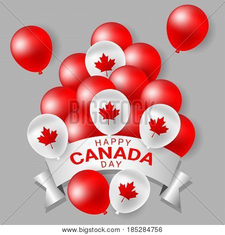 Red and white party balloons for celebrate the national day of Canada